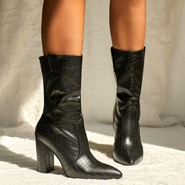Chunky Heel Slip-On Plain PU Ankle Boots