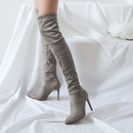 Side Zipper Stiletto Heel Plain Thigh High Boots