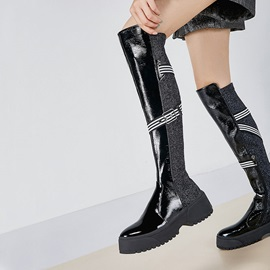 Customized Side Zipper Patchwork Round Toe Otk Boots
