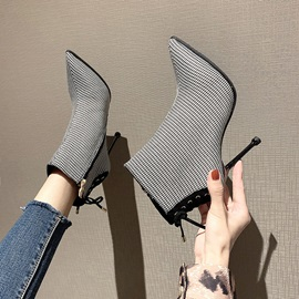 Lace-Up Back Pointed Toe Thread Ankle Boots