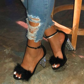 Open Toe Heel Covering Line-Style Buckle Casual Sandals