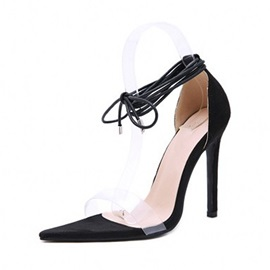 Open Toe Lace-Up Heel Covering Low-Cut Upper Sandals