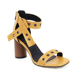 Square Toe Zipper Chunky Heel Casual Sandals