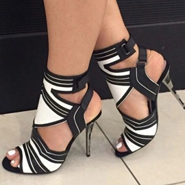 Stiletto Heel Peep Toe Buckle Color Block Sandals