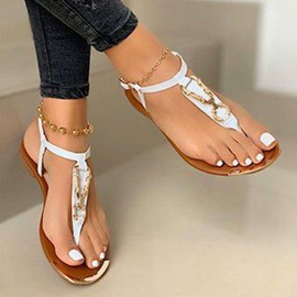 Flat With Buckle Thong Plain Sandals