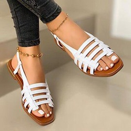 Slip-On Flat With Open Toe Mesh Sandals