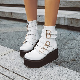 Plain Round Toe Side Zipper Casual Boots
