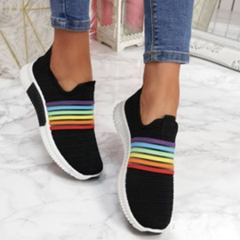 Round Toe Slip-On Color Block Sneakers