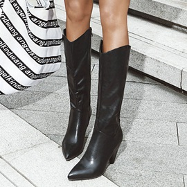 Cone Heel Side Zipper Plain Korean Boots