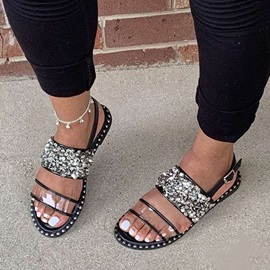 Open Toe Flat With Buckle Plain Sandals