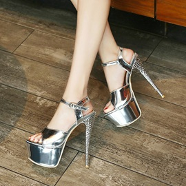 Buckle Stiletto Heel Open Toe Platform Sandals