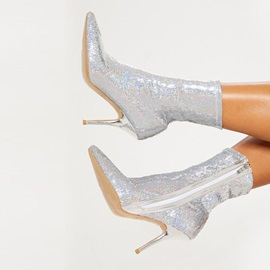 Side Zipper Pointed Toe Plain Sequin Boots