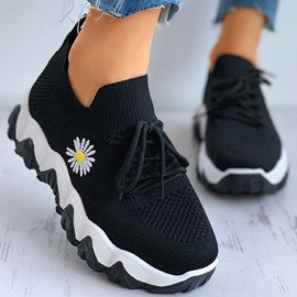 Platform Round Toe Lace-Up Mesh Sneakers