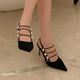 Pointed Toe Slip-On Strappy Professional Sandals