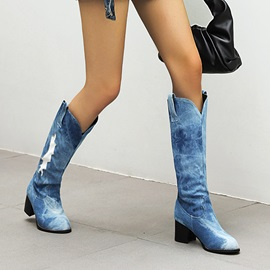 Slip-On Chunky Heel Geometric Thread Boots