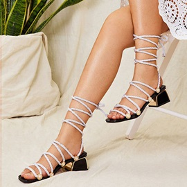 Block Heel Lace-Up Strappy Sexy Sandals