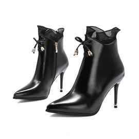 Stiletto Heel Pointed Toe Side Zipper Short Floss Boots