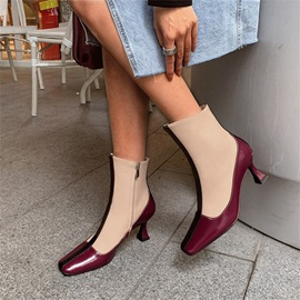 Horse-Shoe Heel Patchwork Side Zipper Short Floss Boots