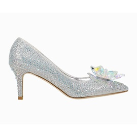 Slip-On Rhinestone Pointed Toe 7.5cm Thin Shoes
