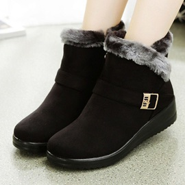 Patchwork Wedge Heel Round Toe Casual Boots