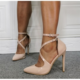 Pointed Toe Stiletto Heel Line-Style Buckle Sexy Thin Shoes