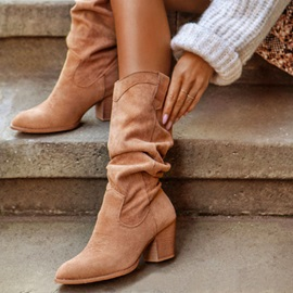 Pointed Toe Plain Slip-On Casual Boots