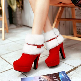 Side Zipper Round Toe Chunky Heel Bow Boots