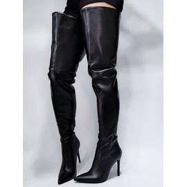 Plain Back Zip Pointed Toe Sexy Boots