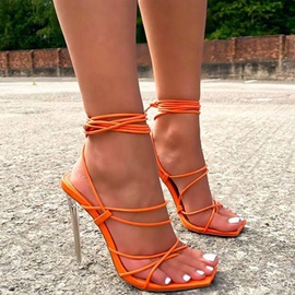 Thong Lace-Up Stiletto Heel Cross Strap Sandals