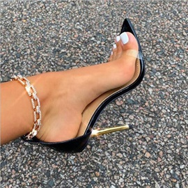 Open Toe Stiletto Heel Line-Style Buckle Plain Sandals