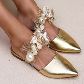 Closed Toe Slip-On Beads Casual Slippers