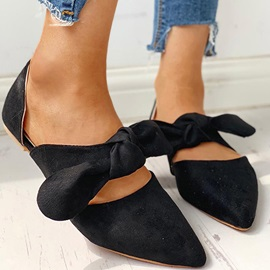 Slip-On Bow Pointed Toe Flat Heel(≤1cm) Thin Shoes