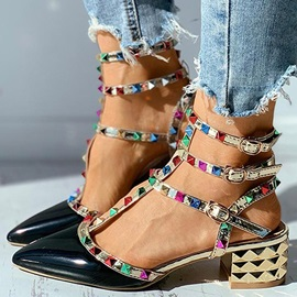 Pointed Toe Buckle Chunky Heel Casual Sandals