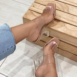 Chunky Heel Candy Color Slip-On Patchwork Slippers Clear Heels