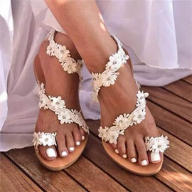 Flat With Thong Slip-On Appliques Sandals