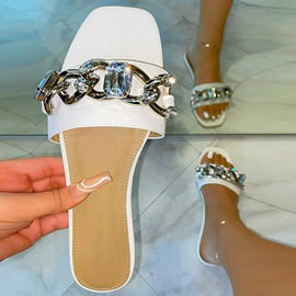 Toe Ring Flat With Sequin PVC Slippers