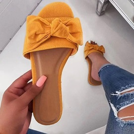Slip-On Bow Flat With TPR Slippers