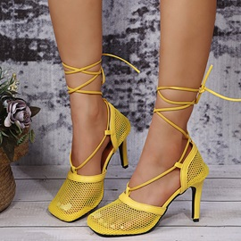 Stiletto Heel Hollow Square Toe Simple Thin Shoes