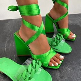 Chunky Heel Open Toe Lace-Up Western Sandals