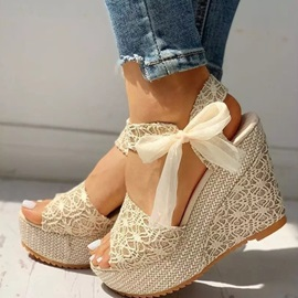 Wedge Heel Lace-Up Open Toe Professional Sandals