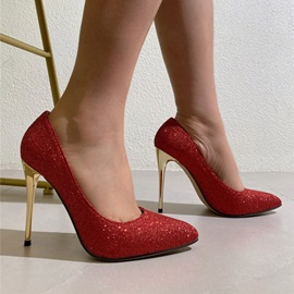 Pointed Toe Slip-On Stiletto Heel Banquet Thin Shoes