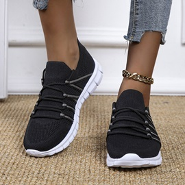 Lace-Up Lace-Up Round Toe Color Block Sneakers