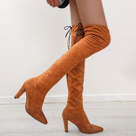 Pointed Toe Plain Chunky Heel Banquet Boots