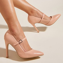 Buckle Stiletto Heel Pointed Toe Ultra-High Heel(≥8cm) Thin Shoes