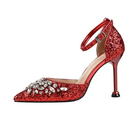 Buckle Pointed Toe Sequin 9.5cm Thin Shoes