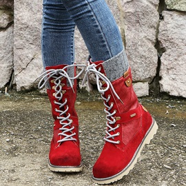 Round Toe Patchwork Side Zipper Professional Boots