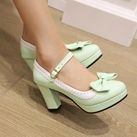 Round Toe Bow Chunky Heel Professional Thin Shoes