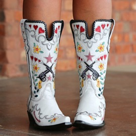 Floral Slip-On Square Toe Ethnic Boots