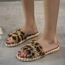 Flip Flop Flat With Sequin Winter Slippers