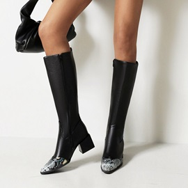 Color Block Pointed Toe Side Zipper Western Boots